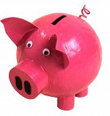 picture of googly-eyes  - Photograph of a paper mache money box in the shape of a pink piggy bank - JPG