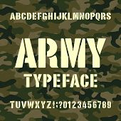 Army Alphabet Typeface. Stencil Letters And Numbers On Distressed Camo Background. Vector Font For Y poster