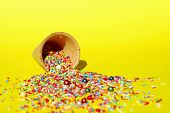 Abstract Colorful Background. Multicolored Candy Sweets On Yellow Background. Closeup Of Multicolore poster