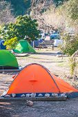 Camping In The Turkish Forest. Colored Tents. Outdoor Activities. Shelter Travelers. Camping For Roc poster
