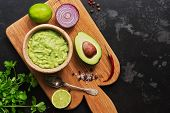 Bowl Of Guacamole With Ingredients. Latin American Traditional Food poster