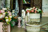 Shabby Chic Room Interior. Wedding Decor, Room Decorated For Shabby Chic Rustic Wedding, With Many C poster