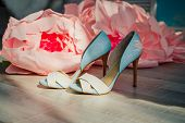 Sexy High Heels Sandals In Shiny Blue Beige Leather.designer Brides Shoes.pair Of Luxurious Women Su poster