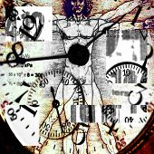 Time Grunge - Vitruvian Man and Clock images.   Image is square.