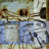 Abstract Time Vitruvian Man. Image is square.