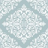 Classic Seamless Pattern. Damask Orient Blue And White Ornament. Classic Vintage Background poster