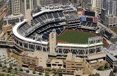 Panoramic Aerial view of San Diego's Petco Park - home of the Padres baseball team.