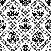 Classic Seamless Pattern. Damask Orient Black And White Ornament. Classic Vintage Background poster