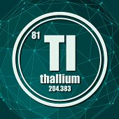 Thallium Chemical Element. Sign With Atomic Number And Atomic Weight. Chemical Element Of Periodic T poster
