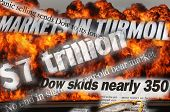 Wall Street Meltdown - composited image with many headlines from October 2008. Explosion and fire in
