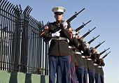 LA JOLLA, CA - OCTOBER 16: USMC honor guards participate at a ceremony honoring fallen soldier and p