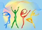 picture of ballet dancer  - Abstract silhouette of different color gymnasts - JPG