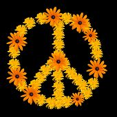 stock photo of woodstock  - Peace symbol made from orange flower calendula - JPG