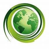 foto of planet earth  - Planet Earth with Recycle Symbol environment  - JPG