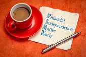 FIRE acronym - financial independence, retire early, handwriting on a napkin with a cup of coffee poster