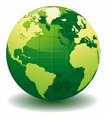Green World globe - editable vector illustration poster