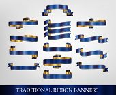 Blue Ribbon Banner Collection - vector illustrations