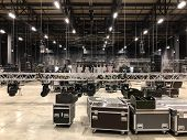 Installation Of Professional Sound, Light, Video And Stage Equipment For A Concert. Stage Lighting E poster