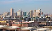 stock photo of locust  - Baltimore skyline locust point from the baltimore cruise terminal - JPG