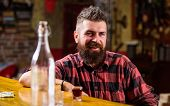 Hipster Relaxing At Bar. Bar Relaxing Place To Have Drink And Relax. Man With Beard Spend Leisure Dr poster