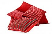 image of pillowcase  - Collection of red cushions on white background - JPG
