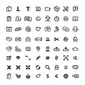 Naive Style Icon Set. Doodle Ink Set Of Icons With Elements For Mobile Concepts And Web Apps. Vector poster