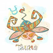 Childrens Horoscope Icon. Zodiac For Kids. Taurus Sign . Vector. Astrological Symbol As Cartoon Char poster