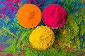 Holi color powder. Organic Gulal colours in bowl for Holi festival, Hindu tradition festive. Blue, p poster
