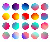 Rounded Holographic Gradient Sphere Set. Gradient Colorful Sphere In Trendy Style. Multicolor Round  poster