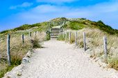 Empty Sandy Path With Stairs Through Dunes Leading To The Beach. Summer. Vacation. Travel. Path To U poster