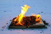 Burning Book In  Snow. Pages With The Text In  Open Book Burn With  Bright Flame. poster