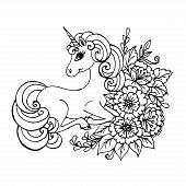 Doodle Unicorn Lies In The Colors Of Black Outline On White poster