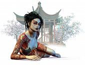 3d Computer Graphics Of A Young Tattoed Asiatic Lady, Blooming Cherry Trees And A Asiatic Pavilion I poster