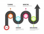 Road Journey Infographic. Trip Directional Map Winding Road, Travel To Success. Footpath Way Vector  poster