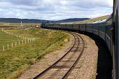 picture of mongol  - Trans-Siberian Railway in desert landscape of Mongolia