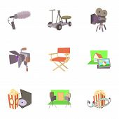 Film Creation Icons Set. Cartoon Set Of 9 Film Creation Icons For Web Isolated On White Background poster