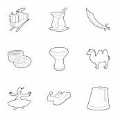 Turkey Culture Icons Set. Outline Set Of 9 Turkey Culture Icons For Web Isolated On White Background poster