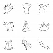 Turkey Things Icons Set. Outline Set Of 9 Turkey Things Icons For Web Isolated On White Background poster