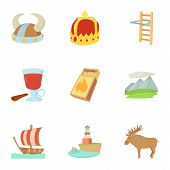 Scandinavia Life Icons Set. Cartoon Set Of 9 Scandinavia Life Icons For Web Isolated On White Backgr poster