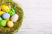 Happy Easter. Congratulatory Easter Background. Easter Eggs And Flowers. Background With Copy Space. poster