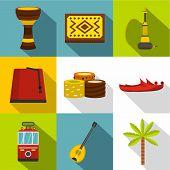 Turkey Icon Set. Flat Style Set Of 9 Turkey Icons For Web Design poster