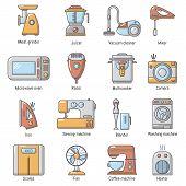Domestic Appliances Icons Set. Carrtoon Illustration Of 16 Domestic Appliances Icons For Web poster