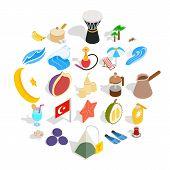 Turkey Icons Set. Isometric Set Of 25 Turkey Icons For Web Isolated On White Background poster