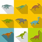 Silhouettes Of Dinosaurs Icon Set. Flat Style Set Of 9 Silhouettes Of Dinosaurs Icons For Web Design poster