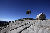 picture of errat  - Erratic boulders were formed by glacial activity in Yosemite National Park - JPG