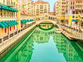 Scenic Landscape Of Venice At Qanat Quartier In The Pearl-qatar, Persian Gulf, Middle East. Panorami poster