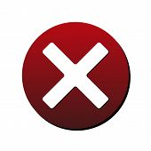 Cancel X-cross Round Icon. Vector Illustration Style Is Flat Iconic Bicolor Symbol, White And Intens poster