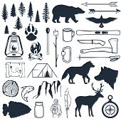 Set Of Wilderness Silhouettes. Hand Drawn Camping And Hiking Elements. Collection For Summer Camp Ou poster