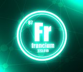Francium Chemical Element. Sign With Atomic Number And Atomic Weight. Chemical Element Of Periodic T poster