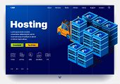 Equipment For Data Center Providing Hosting Services. Website Hosting. Concept Of A Landing Page For poster